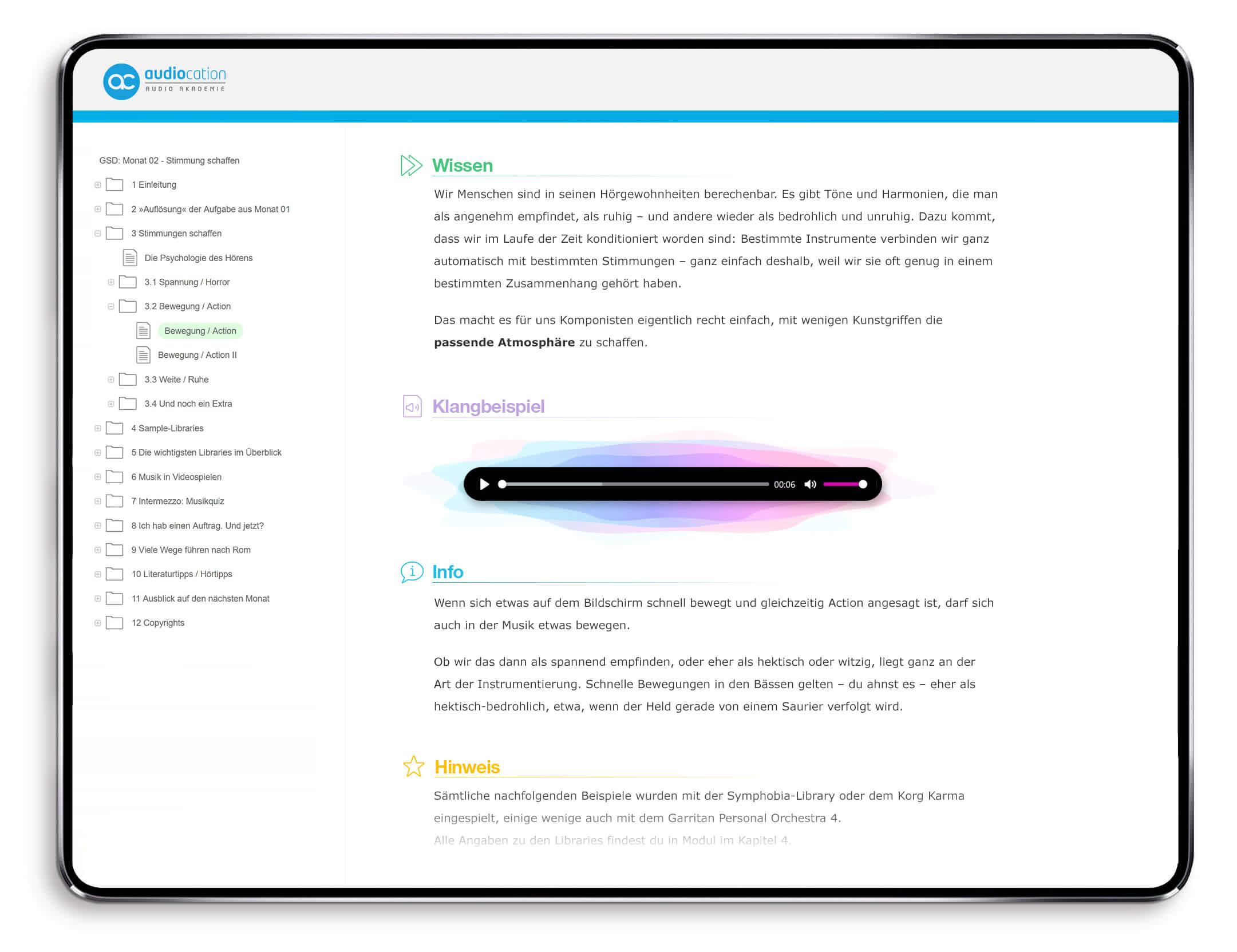 Auszug Game Sound Design Onlinekurs Audiocation