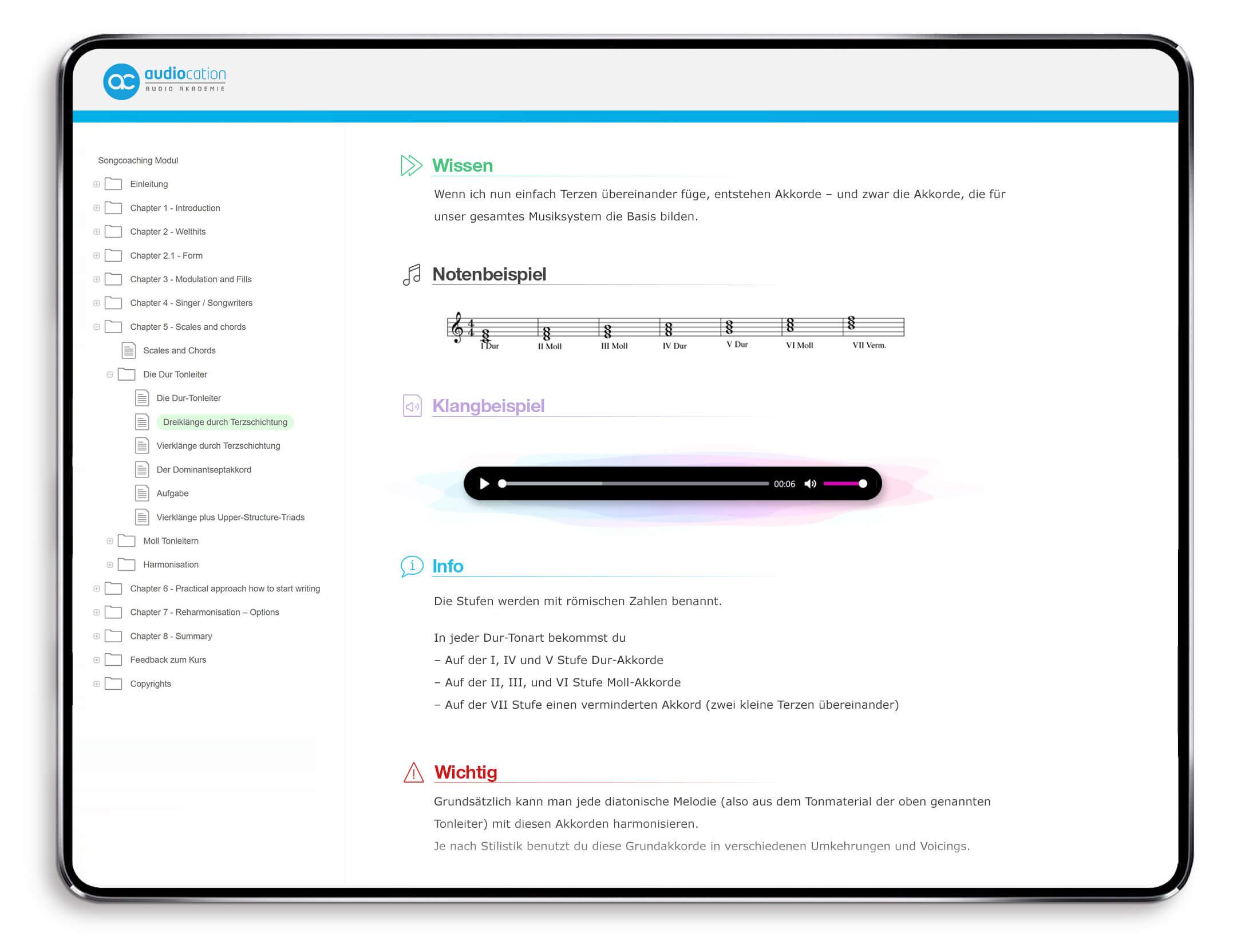 Auszug Songcoaching Onlinekurs Audiocation