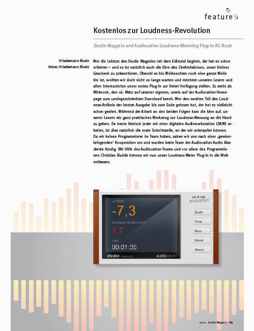 Studiomagazin Fritz Fey Audiocation Plugin Loudness-Meter AC-R128