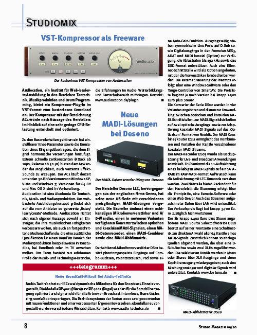Studiomagazin Fritz Fey Audiocation VST Kompressor