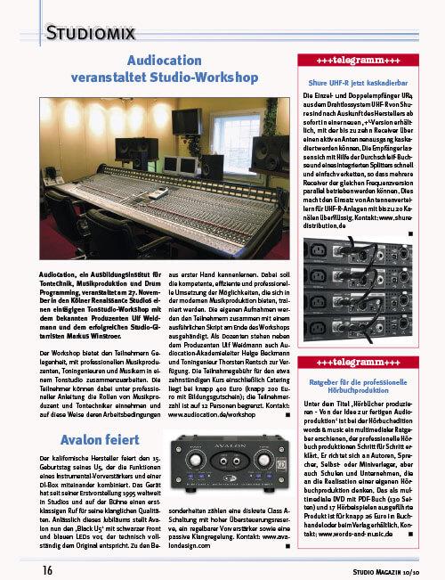 Studiomagazin Fritz Fey Audiocation Tonstudio Workshop