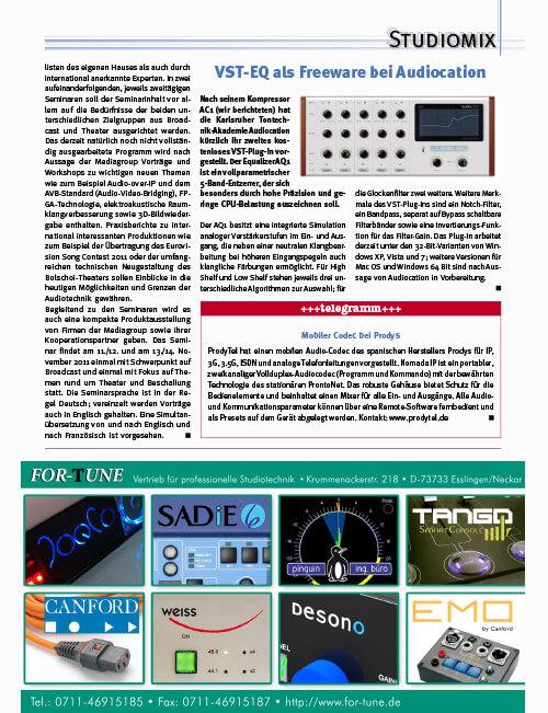Studiomagazin Fritz Fey Audiocation Plugin Freeware Equalizer
